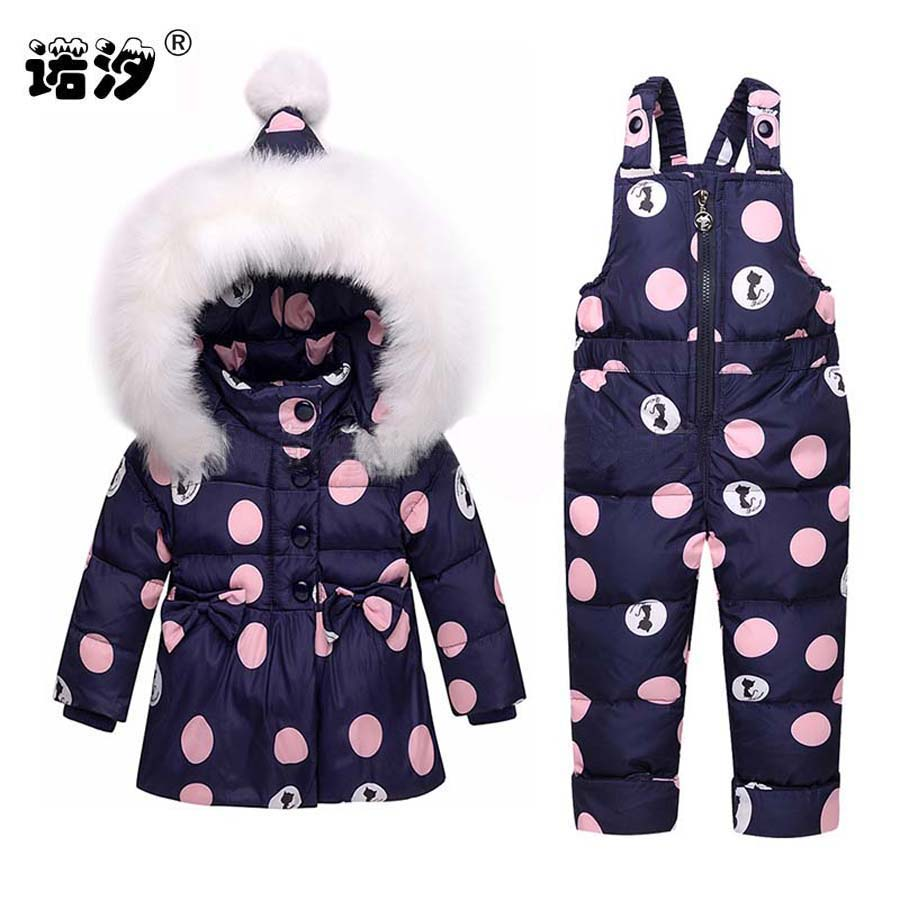 fac0df108011 2018 New Infant Baby Winter Coat Snowsuit Bowknot Polka Dot Duck ...