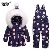 New born baby Girls Clothing Sets warm hooded white duck Down jacket and pants Waterproof Snowsuit Warm Kids Baby Clothes