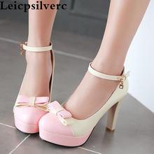 Женские туфли на очень высоком каблуке новые корейские с бантом