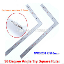 1PC  Stainless Steel 250 x 500mm Bladed L Angle Try Square Measure Ruler Angle Rule Carpenter's Square 10pack stainless steel 150 x 300mm 90 degree angle metric try mitre square ruler