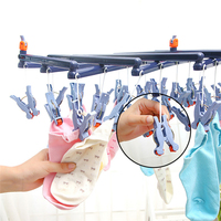 Windproof Rotating Clothes Hanger Organizer With 29 Clips For Clothes Underwear Bra Socks Gloves Drying Hook