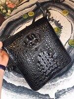 Бизнес Стиль натуральная кожа крокодила Для мужчин один крест сумка на молнии крокодиловой кожи человека Sling Bag