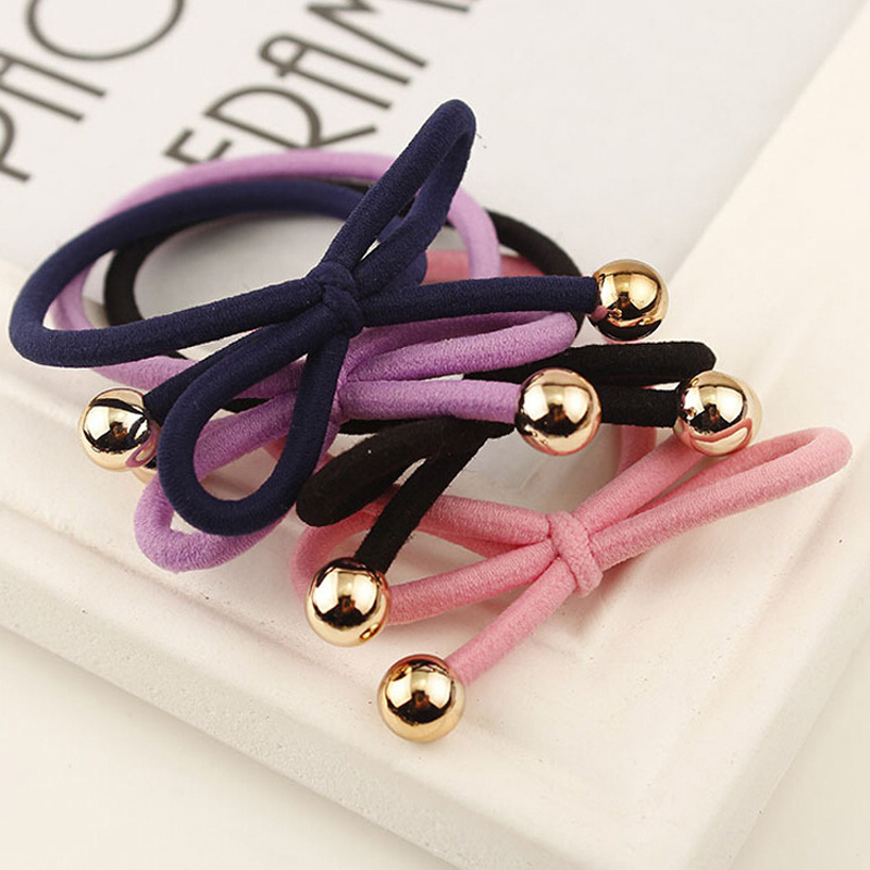 10Pcs Hair Ring Elastics Hair Ropes Pearls Rubber Ties Colorful Bow Fashion Women Girls Hair Ponytail Holders Bracelet Accessory