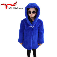 Children Whole Natural Rex Rabbit Fur Coat Winter Warm Baby Kids Long Section Outerwear Coat Girls Solid Full Clothing C#04