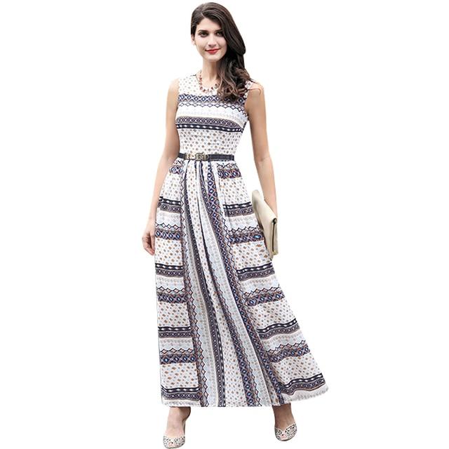 51b948ca8 DF vestido plus size xxxl mulheres malha listrado impresso flores vestido  longo sem mangas tanque vestido