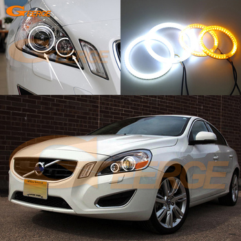 For Volvo S60 V60 2011 2012 2013 XENON HEADLIGHT Excellent Ultra bright Dual Color Switchback smd LED Angel Eyes kit halo rings soccer-specific stadium