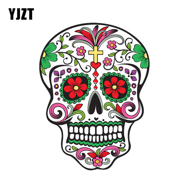 Yjzt 8 9cm11 8cm mexican sugar skull car sticker reflective personality car window decals