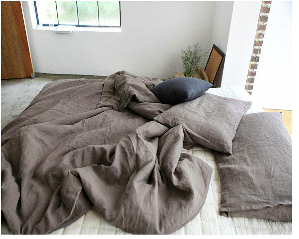 100/% Pure Linen bedding sets Duvet Cover Flat Sheets Pillowcase 4pcs//Set