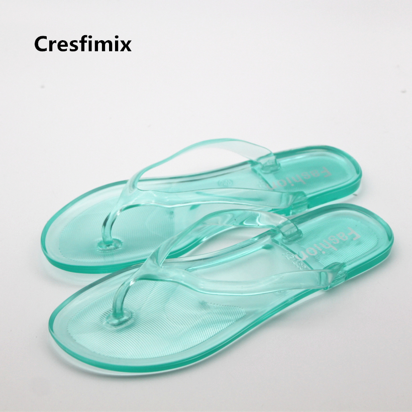 Cresfimix women cute jelly flip flops