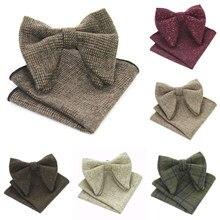 83099b38ffbc JEMYGINS Original Cashmere Oversize Bowtie & Pocket Square Set Wool Luxury Men  Bow tie & Hanky
