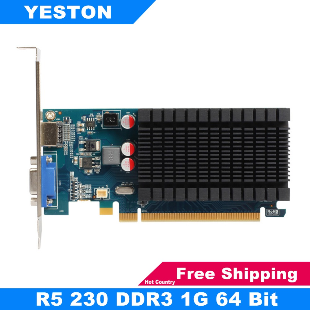 цена Yeston Radeon R5 230 AMD GPU 1GB GDDR3 64 bit 650 MHz Gaming Desktop computer PC Video Graphics Cards support VGA HDMI PCI-E 2.1