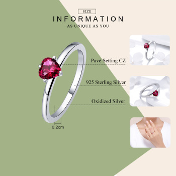 Crystal CZ Red Heart Ring1
