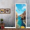 Природа пейзаж 3D фото обои фрески Современный ПВХ самоклеющиеся двери стикер настенная Фреска Papel де Parede Декор для гостиной