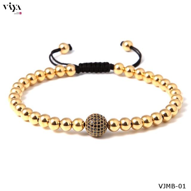 High-end Quality Man Gold Plated Men Bracelet Luxury Anil Arjandas Bead Bracelet Fit Watch Boho Beads Braiding Macrame Bracelets