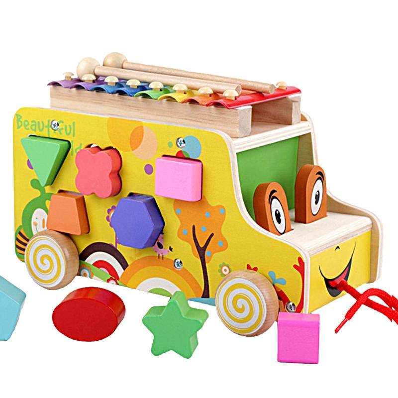 Toddler Wooden Musical Trailer Baby Block Cart Toy Cartoon Animals Shape Train Car Geometric Block Model For Kids Toys
