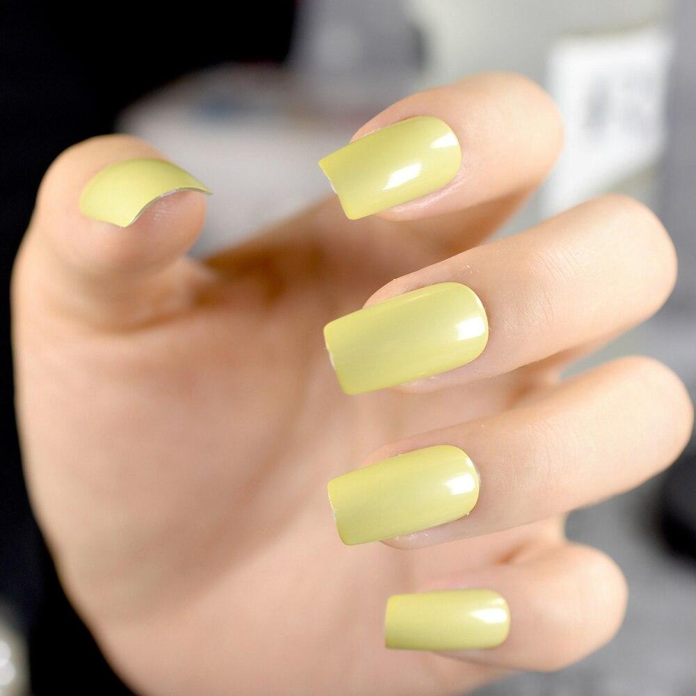 Aliexpress.com : Buy Long Pre designed False Nails Square Cream ...