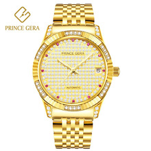 PRINCE GERA 18K Gold Plated Luxury Mens Automatic Watch All Sky Star Diamond Dial Top Business Mechanical