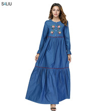 Women Denim Long Dress Embroidery Floral Draped Design Patchwork Swing Spring Dress Long Sleeve For Women Loose Single-breasted(China)