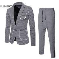 Men's Suit Plaid Lapel Navy Blue Bridegroom Wedding Prom Suits Male Blazers Slim Fit Suits 2018 Classic Suit 2XL Puimentiua FF