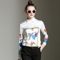 New Long Sleeve Autumn Women S All Match Europe T Floral Women Fashion Shirt XFN7024