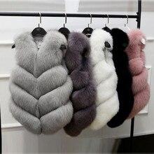 2017 new autumn winter Fashion Imitation fox fur Vest Jackets Sleeveless Women Short Vests Luxury Peel