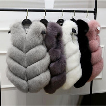 2017 new autumn winter Fashion Imitation fox fur Vest Jackets Sleeveless Women Short Vests Luxury Peel Gilet Veste a583