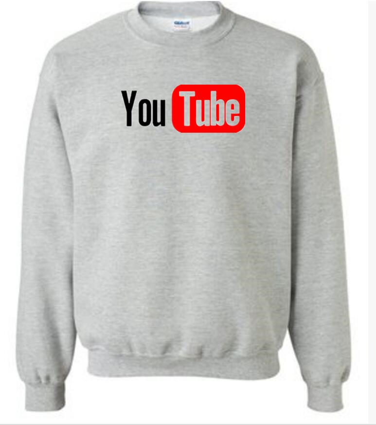New YouTube Logo Print Brand Tops Cotton long Sleeve Sweatshirts Casual Custom Hip Hop Men Hoodies