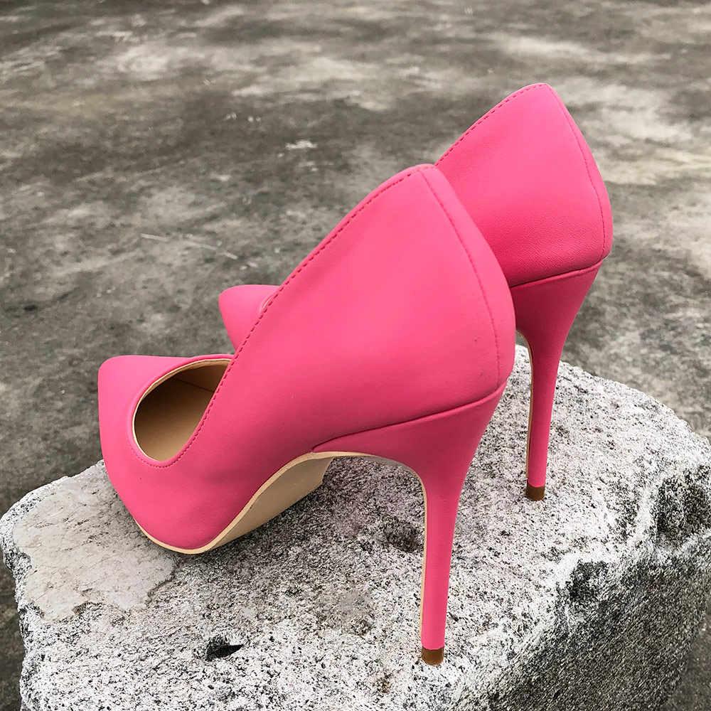 Veowalk Peony Rosa mujeres 8/10/12cm Stiletto tacones altos Color caramelo elegantes señoras puntiagudas zapatos zapatos aceptar personalizado