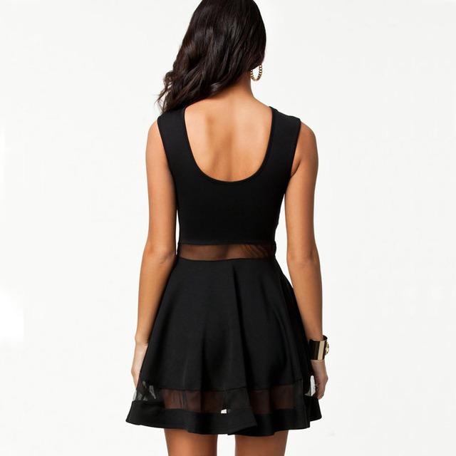 High Quality Elegant Vintage Black mesh Insert Skater Dress Sexy Peplum Dress New Fashion Summer Dress Women Casual Dress S0475