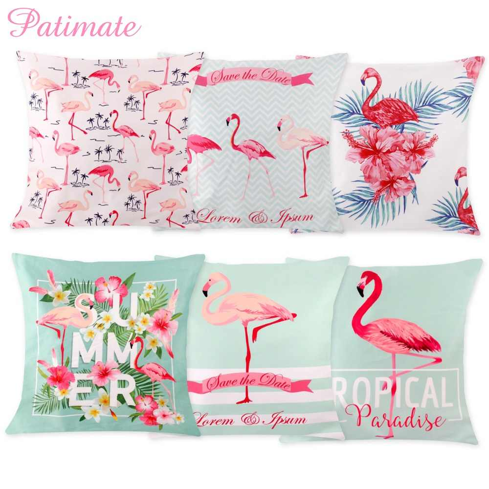 Detail Feedback Questions About PATIMATE 45X45cm Flamingo Pillow Case Pink Summer Party Cushion Cover Hawaiian Favors Gifts Birthday Wedding