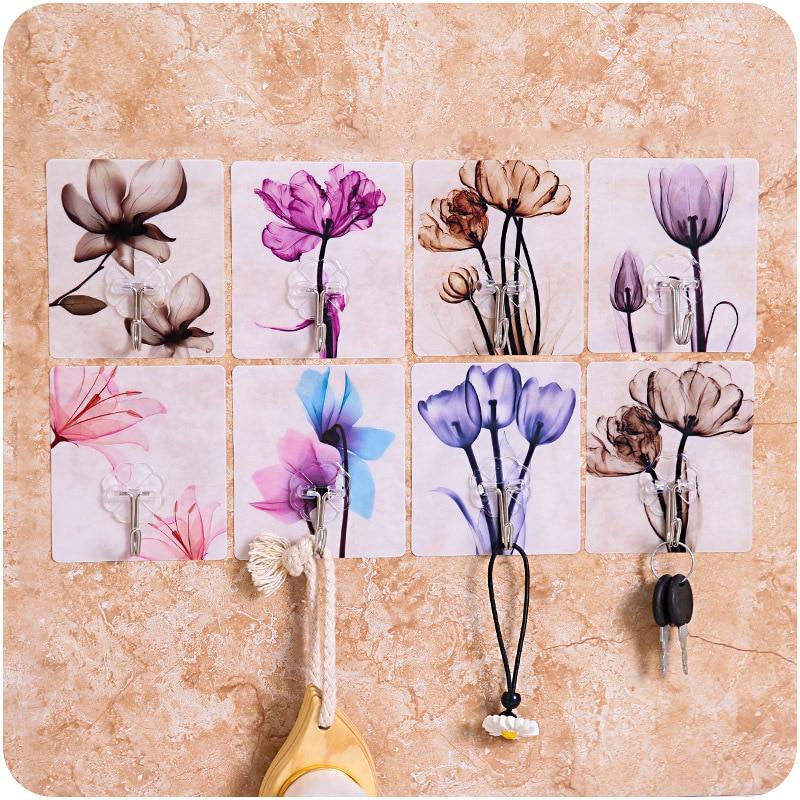 3Pcs/Lot PVC Flower Pattern Self Adhesive Wall Door Hook Hanger Bag Keys Bathroom Kitchen Sticky Holder
