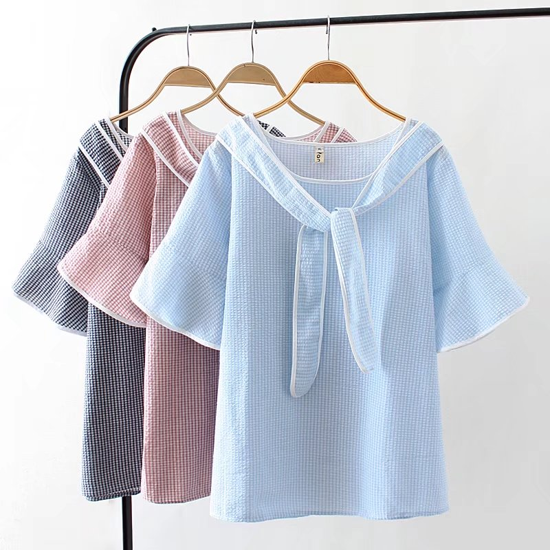 T-shirts Tops & Tees Fashion Style Oversized Plus Size Sky Blue Plaid Summer Women T-shirts Casual Bow Collar Tshirt Flare Sleeve Ladies Top Female 4xl