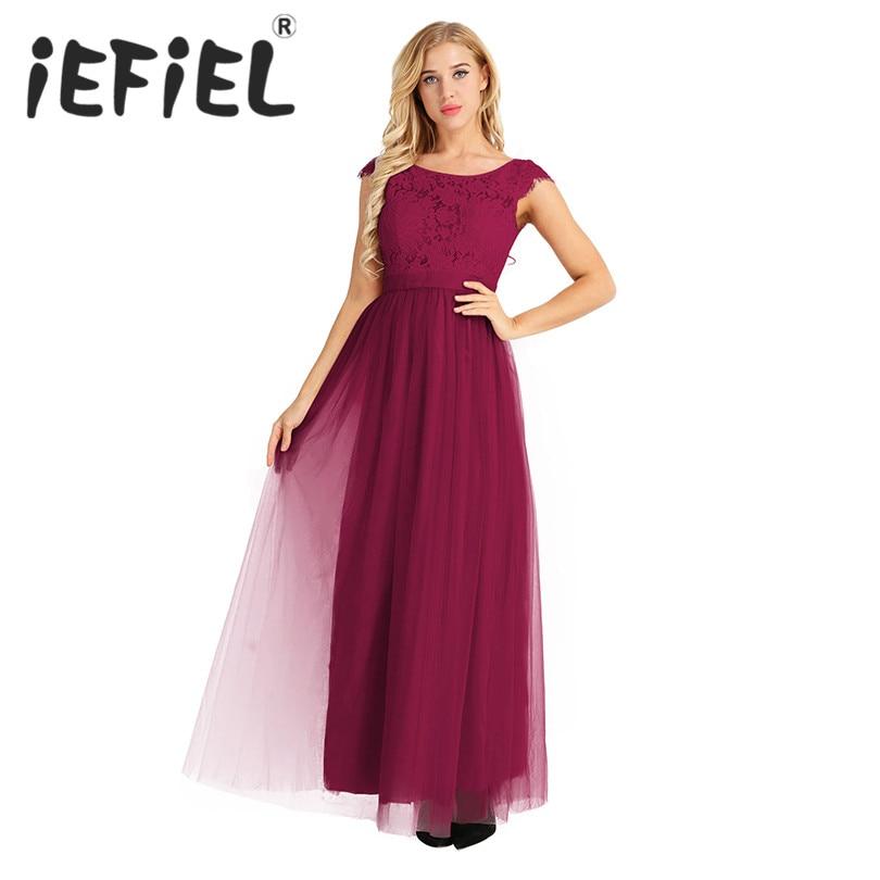 iEFiEL Elegant Embroidered Women Bridal Summer Party Long Dress Chiffon Lace Sleeveless Pleated Wedding Maxi Floor Length Dress