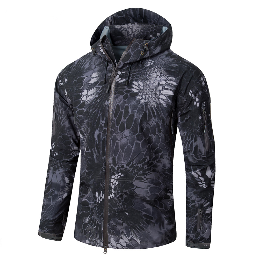 Outdoor Hiking Mountain Men's Hard Shell Full Pressure Glue Jacket Camouflage Tactical Military Waterproof Hunting Jacket Coat