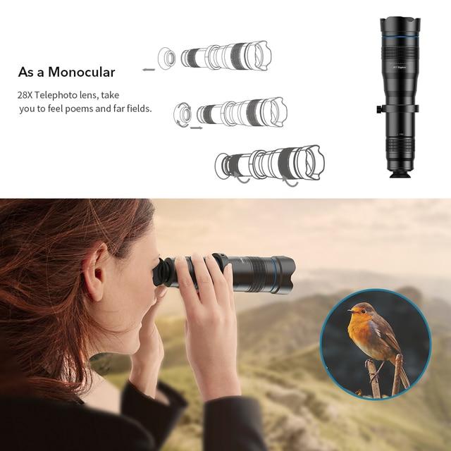 APEXEL Optic phone camera lens HD 28X metal telescope lens monocular with mini selfie tripod for iPhone 78 Xiaomi all Smartphone 3