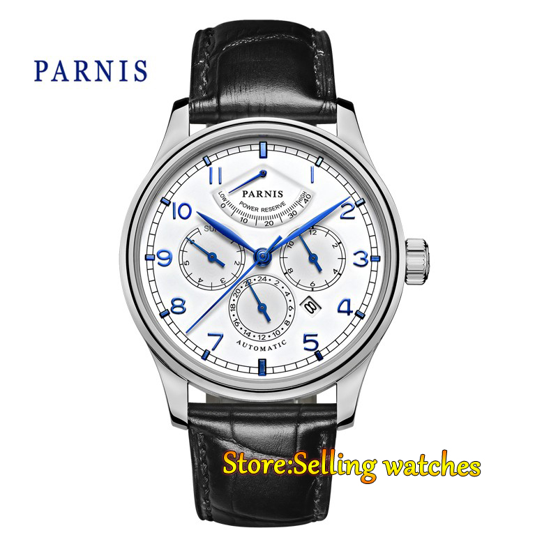 лучшая цена 42mm parnis white dial Multifunction Sapphire Glass 26 jewels miyota 9100 Automatic mens Watch