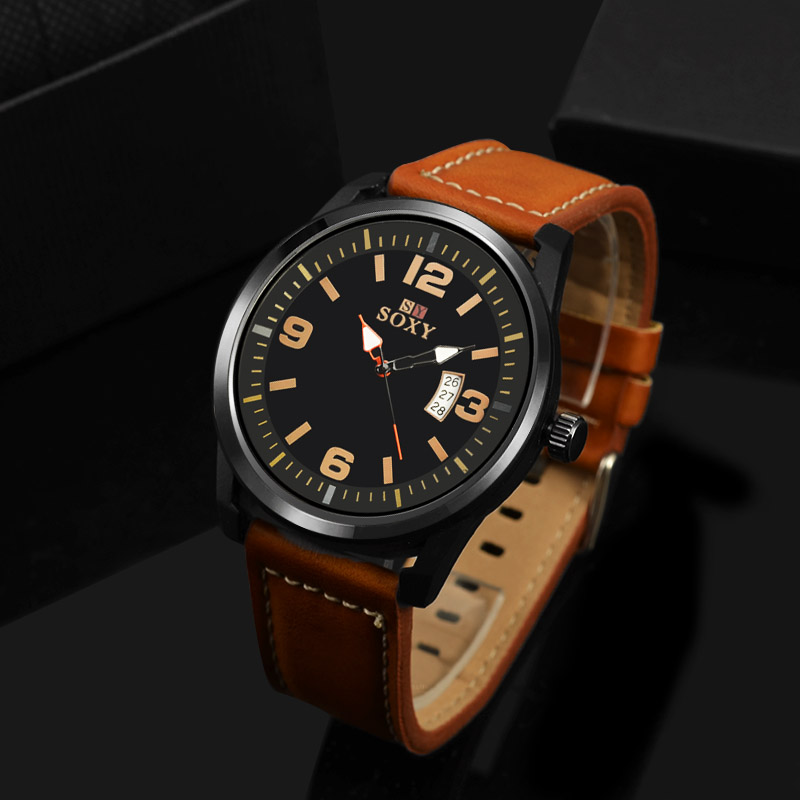 SOXY brand fashion men s watch men watch auto date sport watches leather clock saat erkek