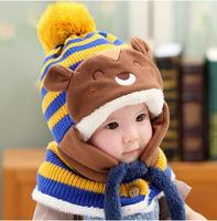 ホット販売男の子女の子ユニセックス子供秋冬暖かいクマ帽子かわいい冬の赤ちゃんのウールの帽子フード付きスカーフ耳介ニットキャップ幼