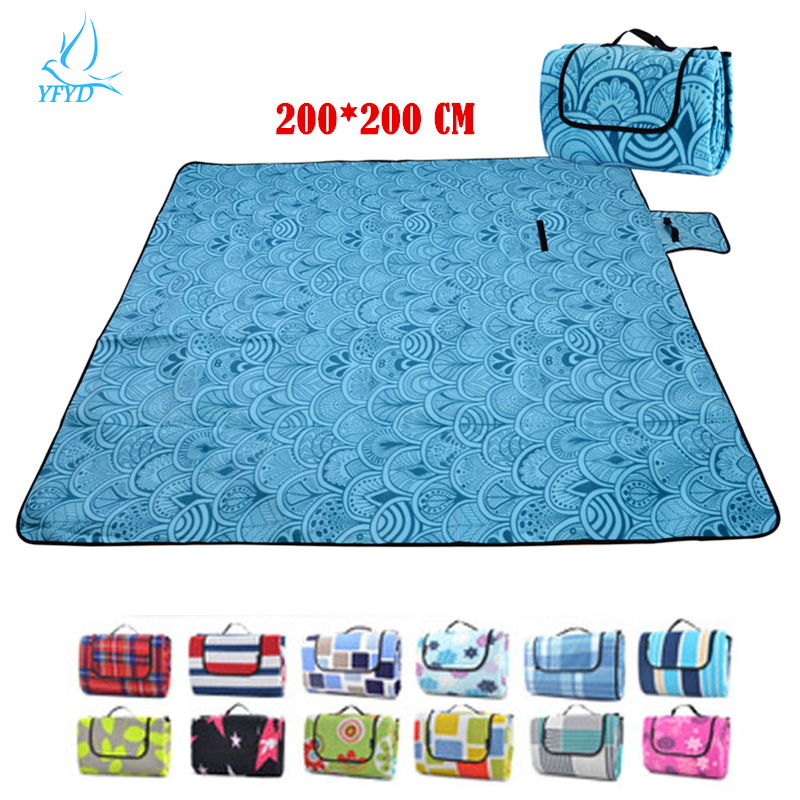 Large Picnic Blanket 200*200 CM Suede Waterproof Outdoor Camping Mat ...