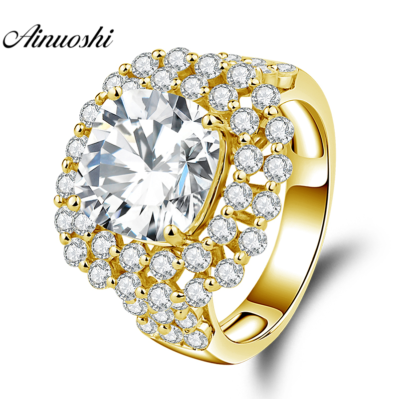 AINUOSHI 10K Solid Yellow Gold Square Halo Ring 5ct Cushion Cut Big Stone Ring Luxury Wedding Engagement Jewelry Gift Women Ring