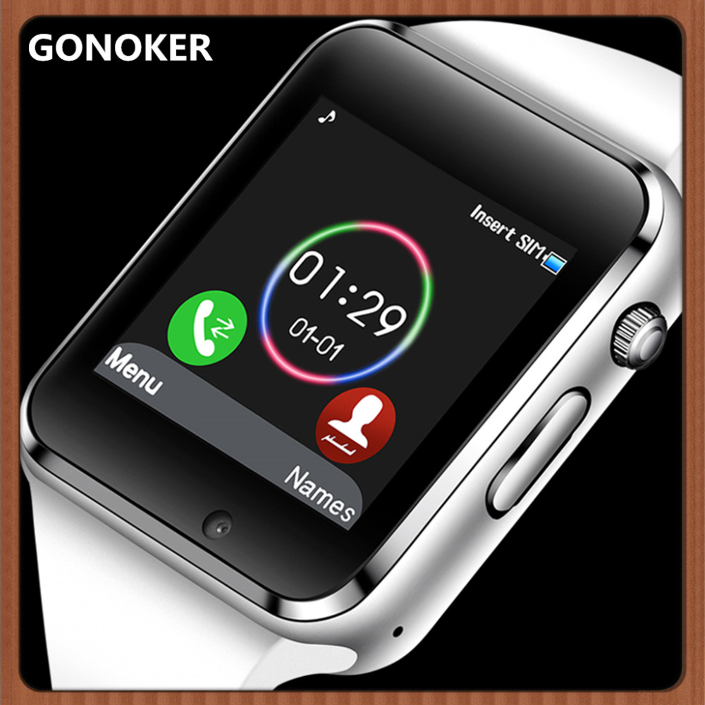 GONOKER Smart Watch Sport Wristwatch With Camera SIM Card Dial Call Sync SMS Touch Screen Smartwatch