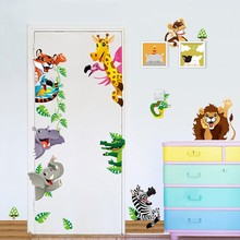% Forest Animals wall stickers For kids rooms diy wall decals lion elephant giraffee monkey horse mural art posters