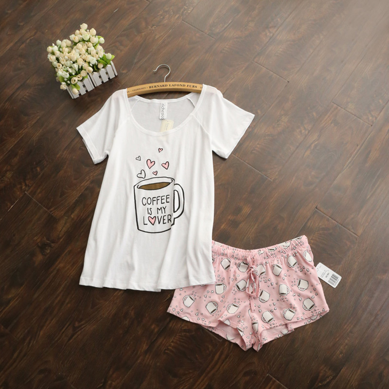 Cute Pajamas Sets With White And Pink /grey And Green Color Coffee Cups Printed Cotton Fashion Women Pajama Sets Hot Selling