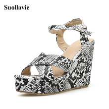 цена Sexy wedge sandals women high heels shoes snake pattern open toe buckle platform shoes ladies 2019 summer women wedge sandals онлайн в 2017 году
