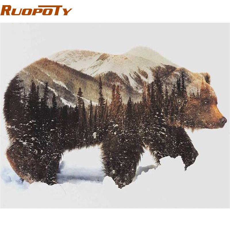 RUOPOTY Frame Picture DIY Painting By Numbers Animals Calligraphy Painting Acrylic Paint On Canvas For Wall Art Picture 40x50cm