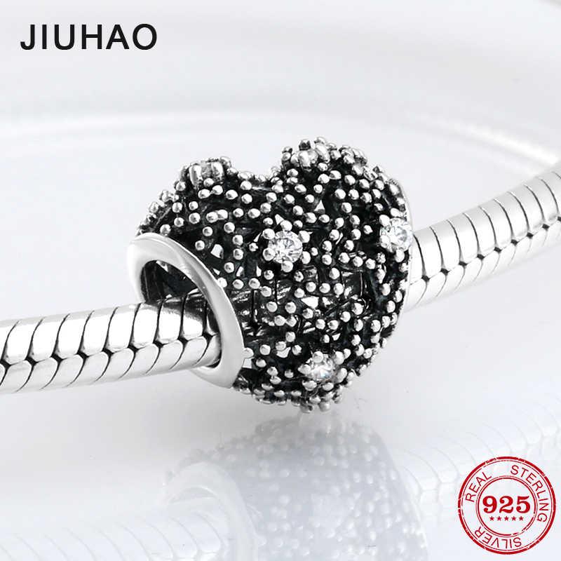 Nova chegada 925 prata esterlina charme oco coração cz grânulos para fazer jóias ajuste original pandora charme pulseira