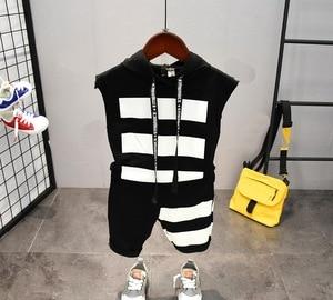 Image 2 - תינוק בני בגדי סטי קיץ כותנה מכתב מודפס ילד סטי 2PCS T חולצה + ילדי מכנסי חליפת 2 6years