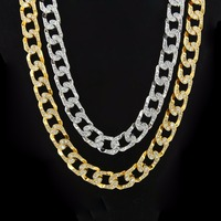 Bling Iced Out Hip Hop Necklace Pave Rhinestone Yellow/White Gold Filled Thick Cuban Curb Link Chain Necklace Mens Jewelry
