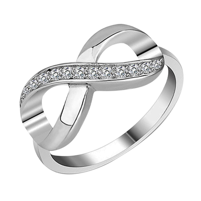 Crystal Infinity Ring Silver Infinity Symbol Eternity Ring Cubic