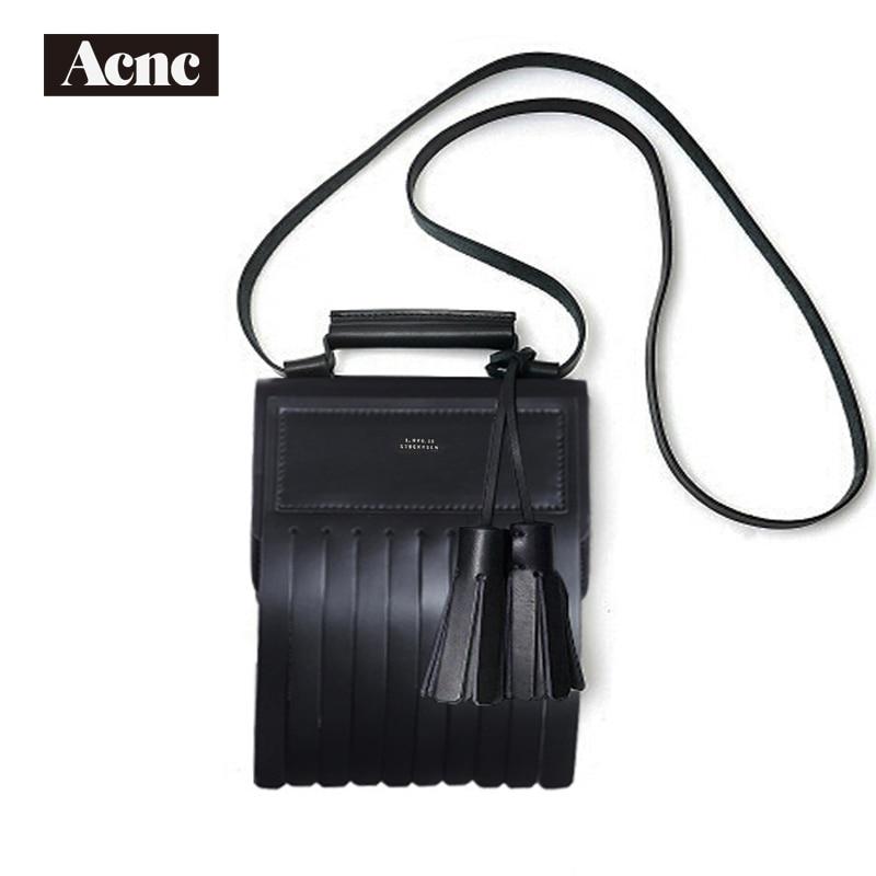 Acne  Genuine Leather Women Medium Tassel Flap Bag ,women Real Leather Tassel Shoulder Bag,free Shipping
